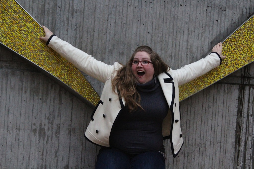 This weird gold mosaic thing on Amazon's campus makes for some pretty great photo ops.