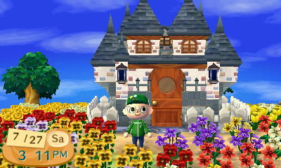 "My ""castle"" exterior house in Animal Crossing: New Leaf."