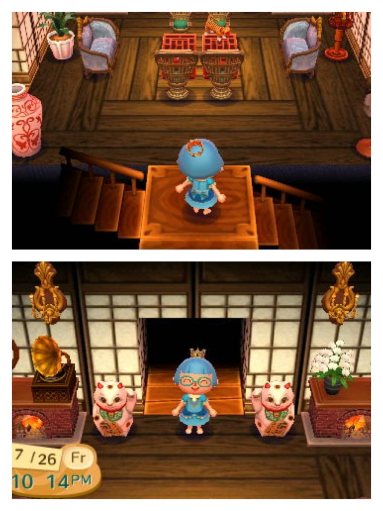 A pair of matching Rococo Sofas and Rococo Candlesticks in Animal Crossing: New Leaf.