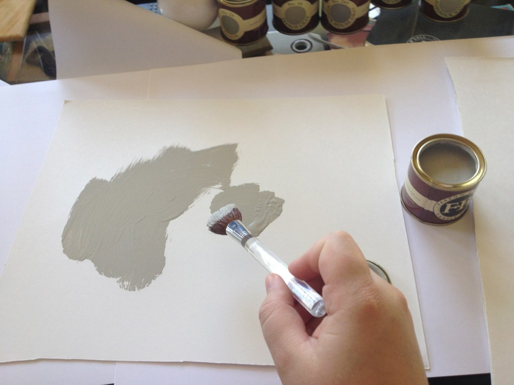 Me, painting a sample.