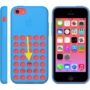 The iPhone 5c with a case.
