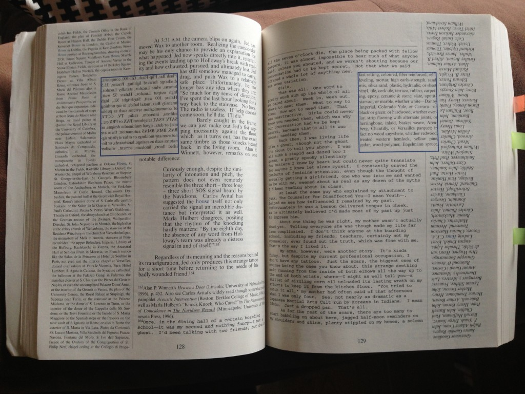 A page from the complicated book House of Leaves.