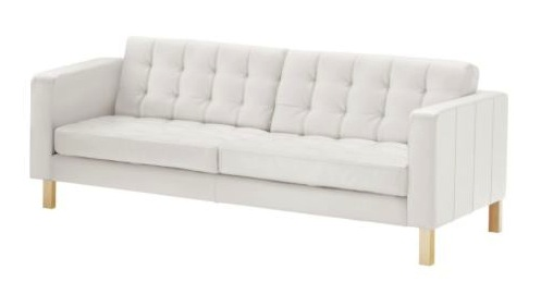 The Karlstad leather sofa in Grann White, with birch legs.