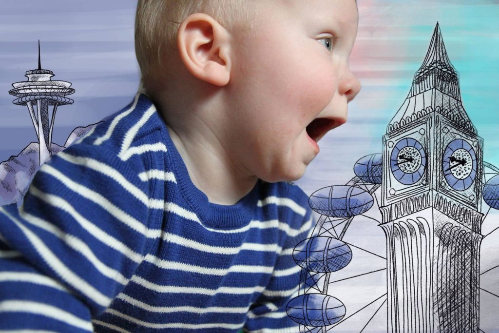 An image of our son Storm between illustrations of Seattle's Space Needle and London's Big Ben and London Eye landmarks